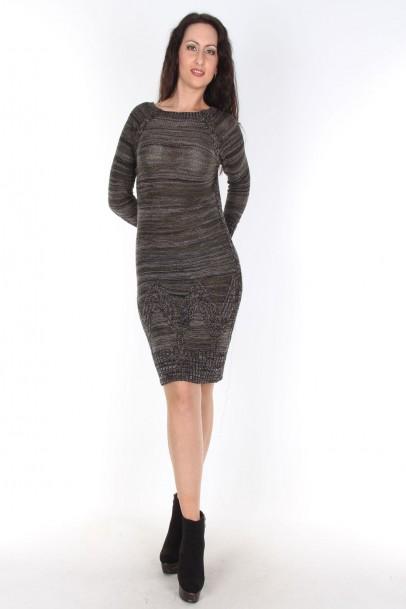 Triko Elbise Haki Siyah Kırçıllı