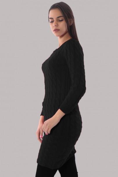 Triko Elbise Siyah Bisiklet Yaka