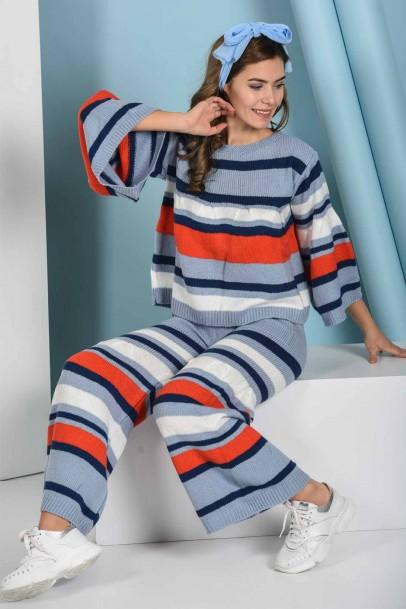 Kombin Kadın Çizgili Triko İkili Takım Mavi