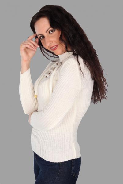 Bayan Kazak Yarım Balıkcı Beyaz