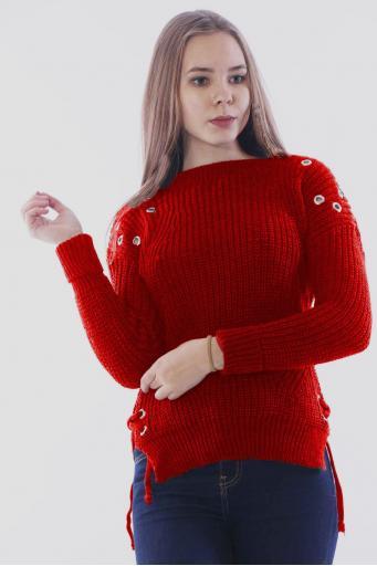 Bayan Triko Kazak Kırmızı Yırtmaçlı