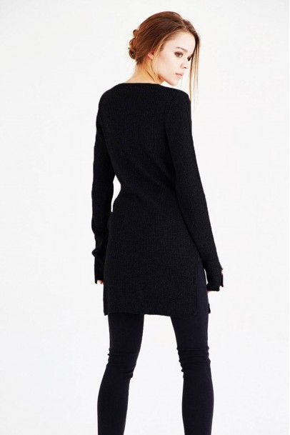 Triko Tunik Yırtmaçlı Siyah