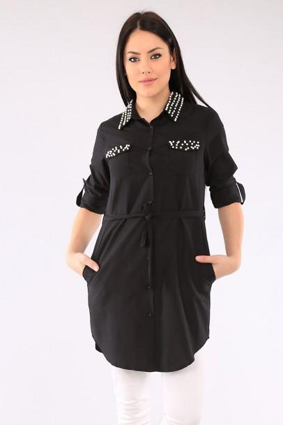 Bayan İncili Tunik modelleri Siyah