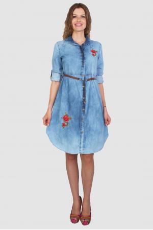 Mavi Kot Çiçek Nakışlı Tunik