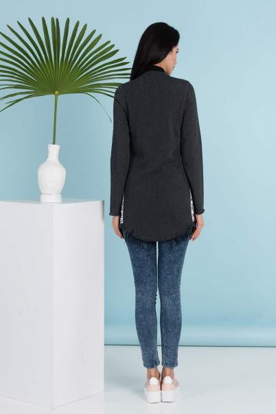 Trenç Tunik Ceket Fermuarlı Füme