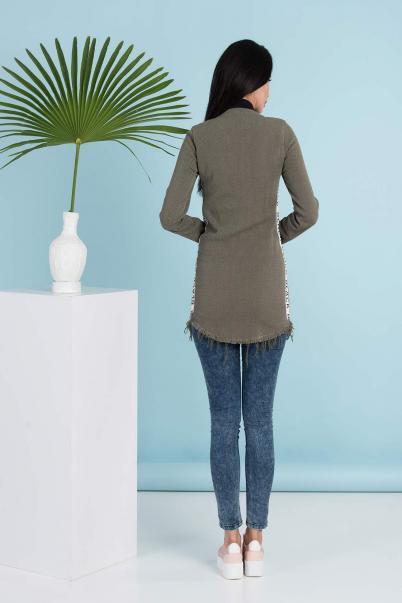 Trenç Tunik Ceket Fermuarlı Haki
