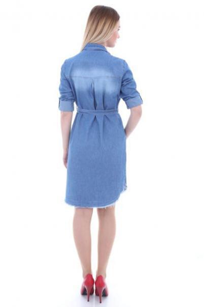 Kadın Mavi Kot Tunik