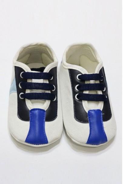 Bebek Ayakkabı Süet Beyaz Mavi