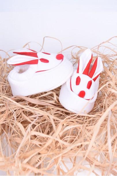 Bebek Patik Tavşan Desenli Kulaklı Ayakkabı Beyaz