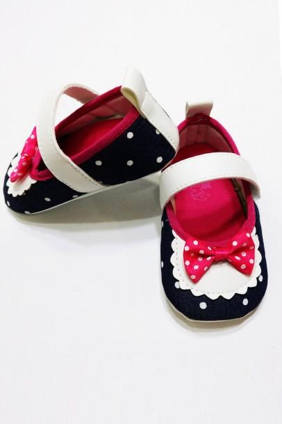 Fiyonk Desenli Ayakkabı Kız Bebek Patik
