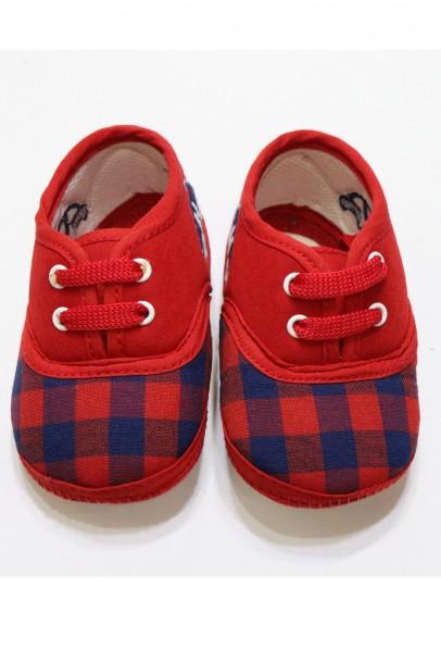 Kırmızı Lacivert Kareli Çocuk  Ayakkabısı
