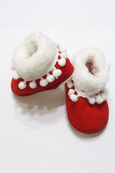 Kışlık Kırmızı Kız Çocuk Patik İlk Adım