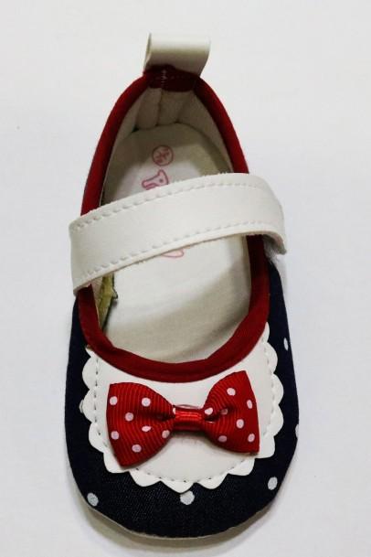 Kız Bebek Patik Fiyonk Desenli Ayakkabı