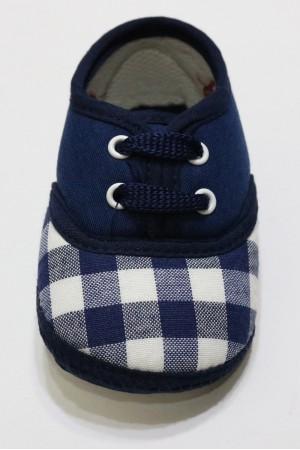 Lacivert Beyaz Kareli Çocuk  Ayakkabısı
