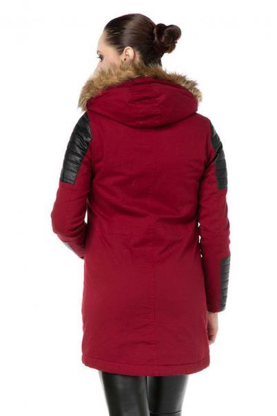 Kadın Kırmızı Kaban Deri Detaylı