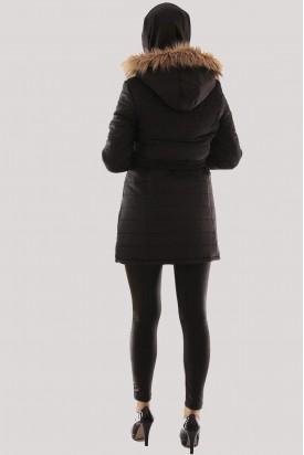 Tesettür Şişme Kaban Kapşonlu Siyah