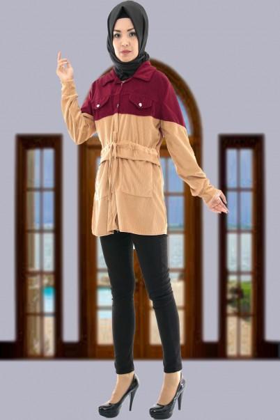 Kadın Kadife Ceket Mont Bordo Vizon