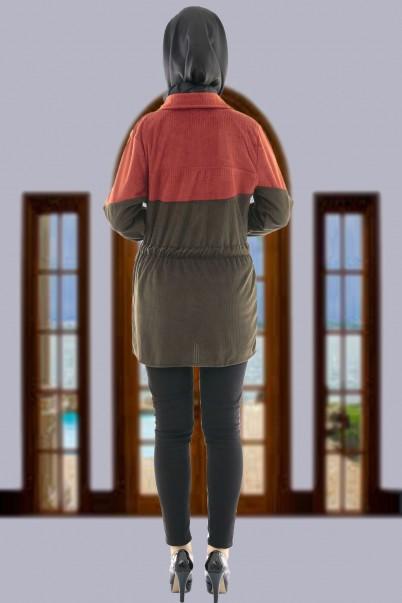 Kadın Kadife Ceket Mont Taba Haki