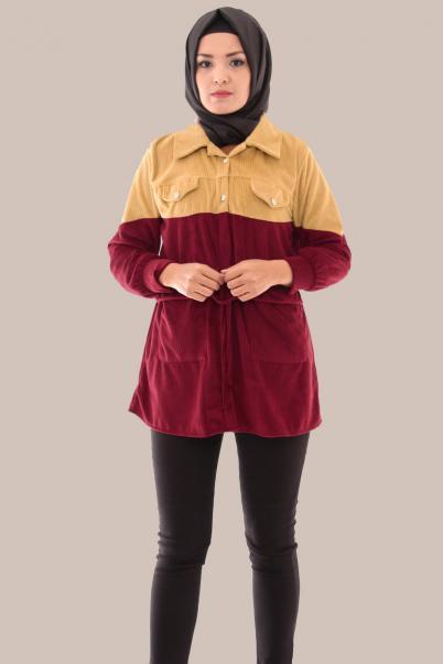 Kadın Kadife Ceket Mont Vizon Bordo