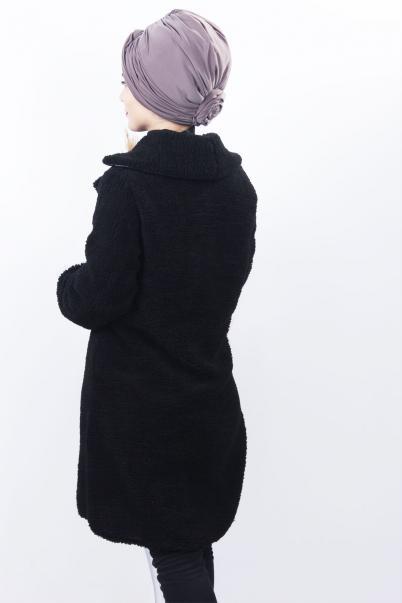 Kadın Peluş Kürk Mont Siyah