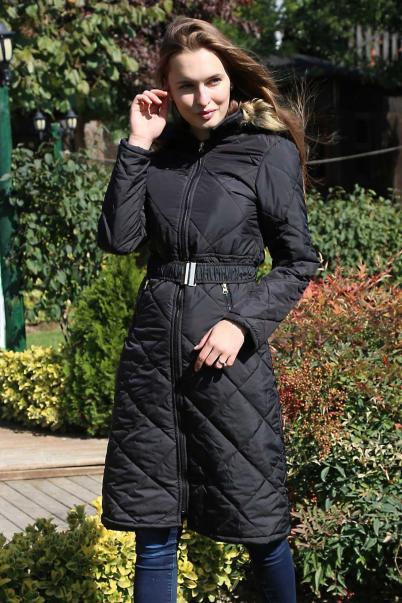Kadın Şişme Mont Kapşonlu Siyah
