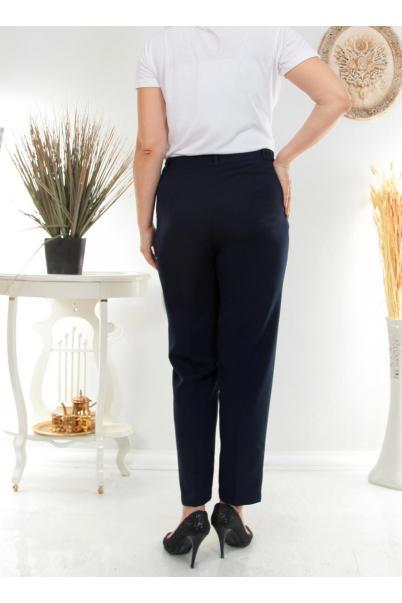 Büyük Beden Kumaş Kadın Pantolon 2345-Lacivert