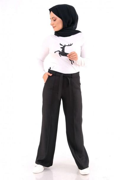 Geniş Paça Kadın Pantolon Siyah