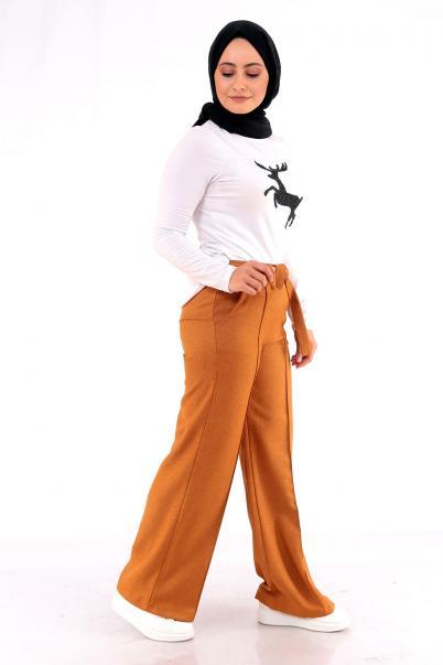 Kadın Bol paça Pantolon Hardal