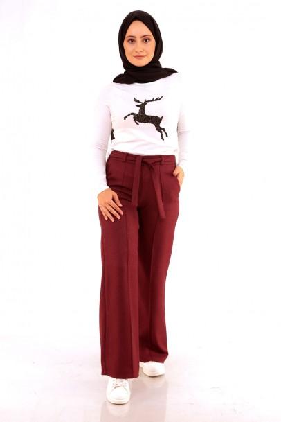 Kadın Pantolon Bordo Geniş Paça