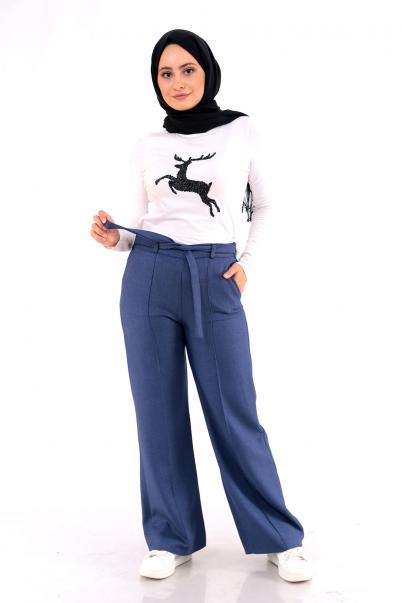 Kadın Pantolon Geniş Paça Pantolon İndigo