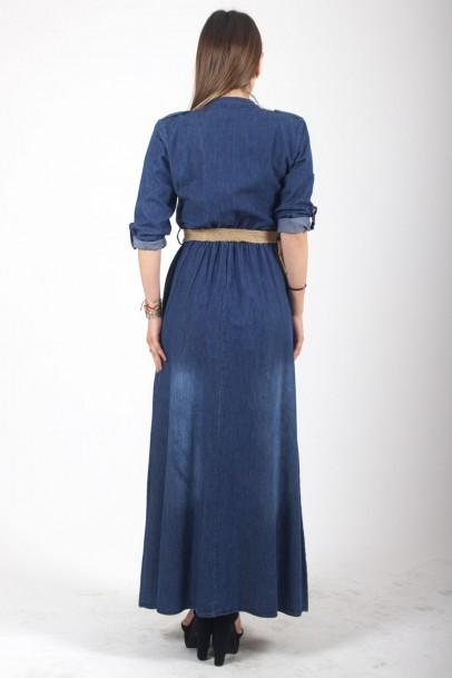 Büyük Beden Kot Elbise Çift Cepli