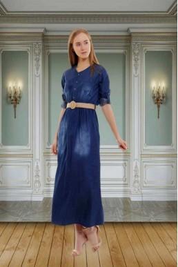 Uzun Kot Elbise Lacivert