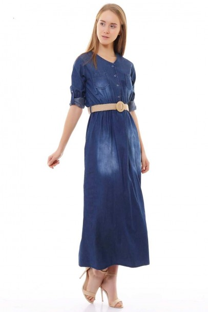 Kadın Uzun Kot Elbise