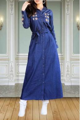 Mavi Kot Elbise Uzun Nakışlı