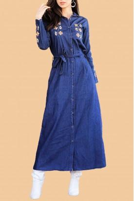 Kot Elbise Uzun Düğmeli Nakışlı