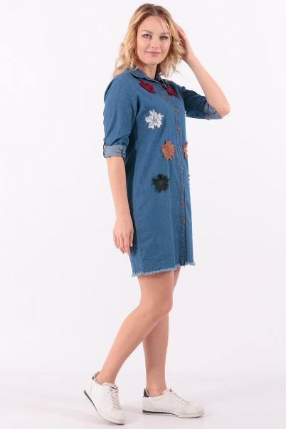 Mavi Kot Tunik Yıldız Detaylı
