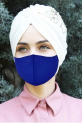 5 - Adet Yıkana Bilir Kumaş Maske Saks