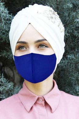 5 - Adet Yıkanabilir Kumaş Maske Saks