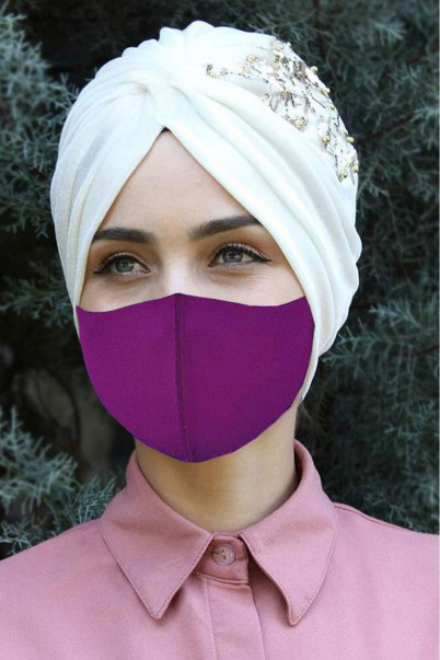 Yıkana Bilir Bez Maske 5 Adet Mor