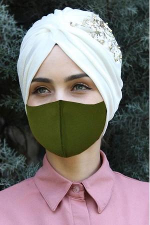 Yıkanabilir Yüz Maskesi 5 Adet Haki