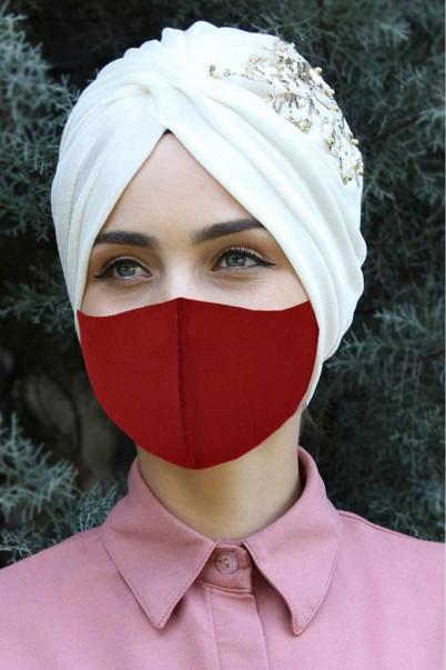 Yıkanabilir Bez Maskesi 5 Adet Kırmızı